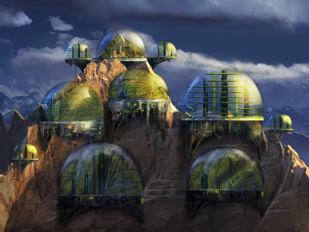 Glass domes on top of a mountain