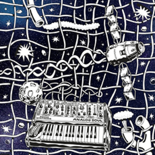 keyboard and rocket ship on dark blue background